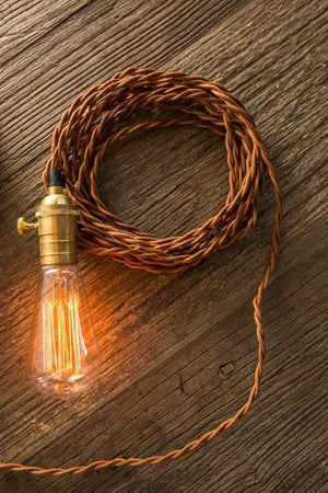 Vagabond Vintage Braided Cord with Brass Socket in Brown