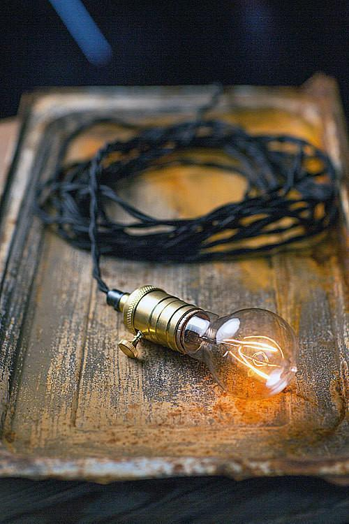 Vagabond Vintage Braided Cord with Brass Socket in Black