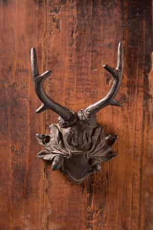Vagabond Vintage Antiqued Black Pewter Antler Hook - Set of 2