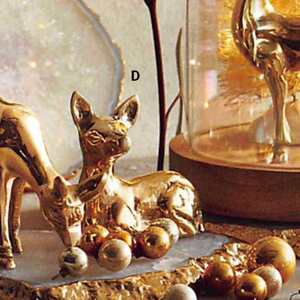 Roost Winter Scene Golden Deer - Set Of 2