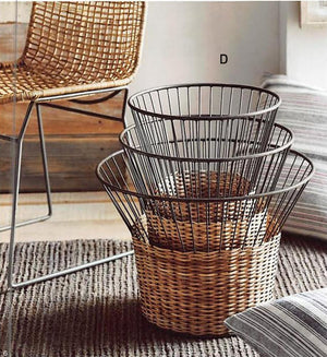 Roost Rattan & Iron Baskets - Set Of 3