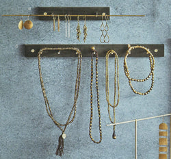 Roost Wall Mount Brass Rod Jewelry Displays - Set Of 2