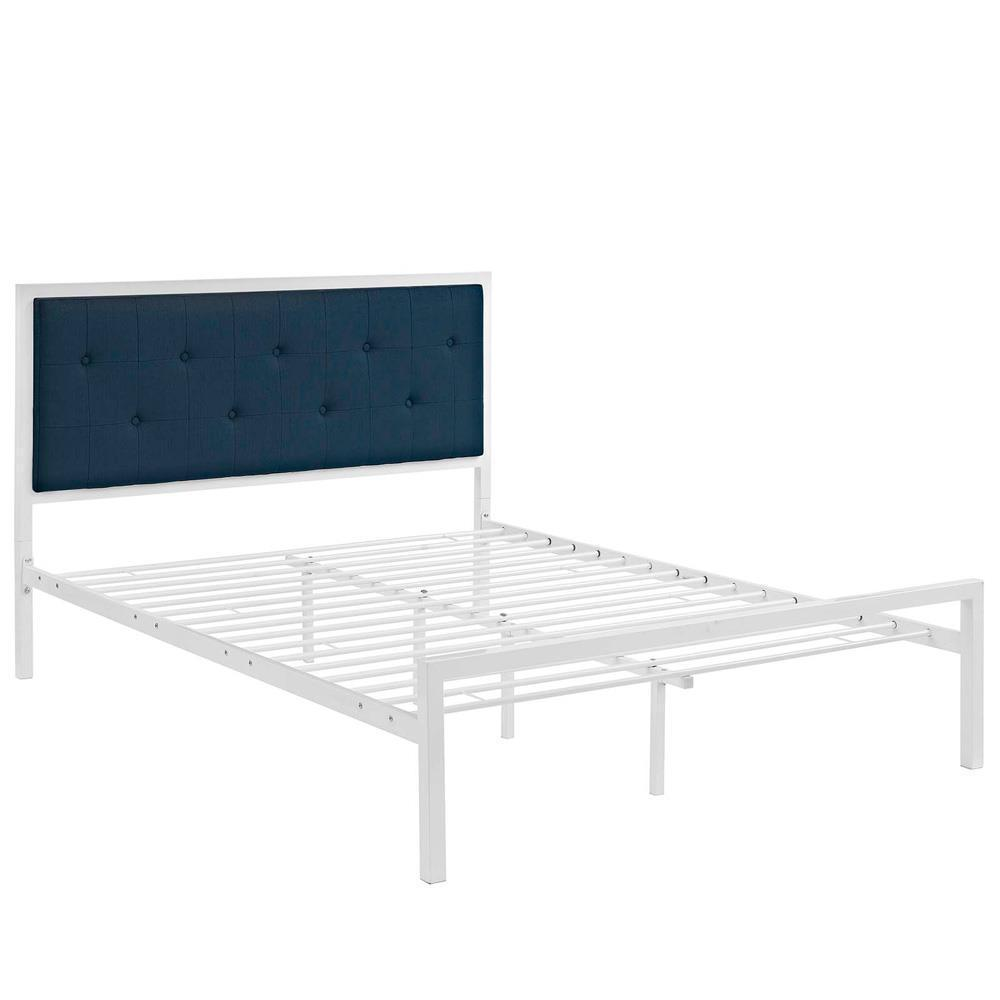 Modway Lottie King Fabric Bed - White Azure