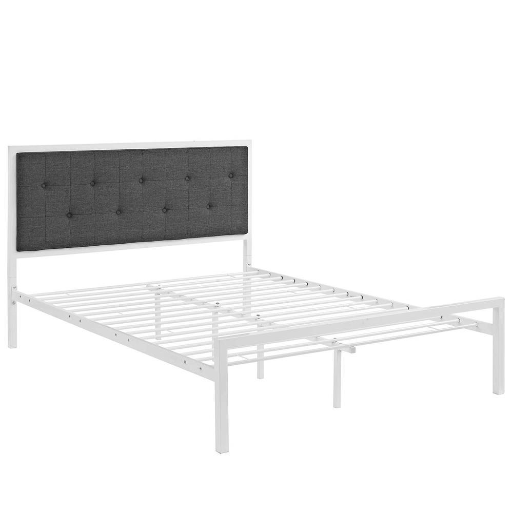 Modway Lottie King Fabric Bed - White Gray
