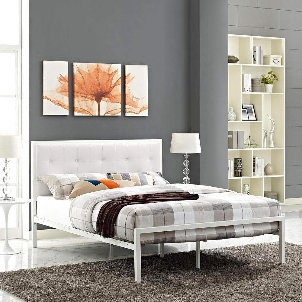 Modway Lottie King Vinyl Bed - White White
