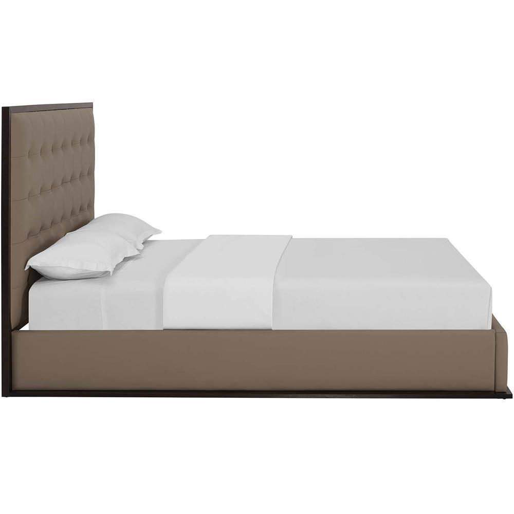 Modway Madeline Queen Vinyl Bed Frame - Cappuccino Brown