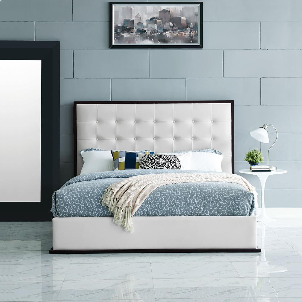Modway Madeline Queen Vinyl Bed Frame - Cappuccino White