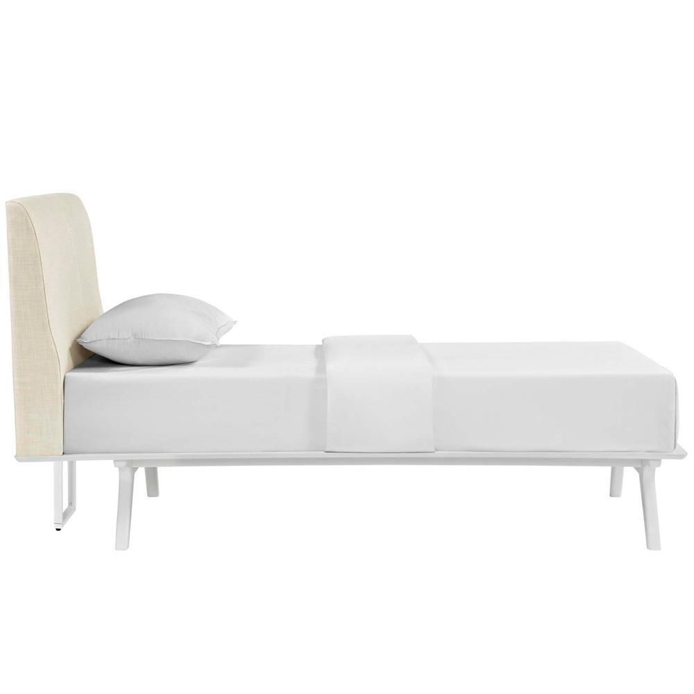Modway Tracy Twin Bed - White Beige