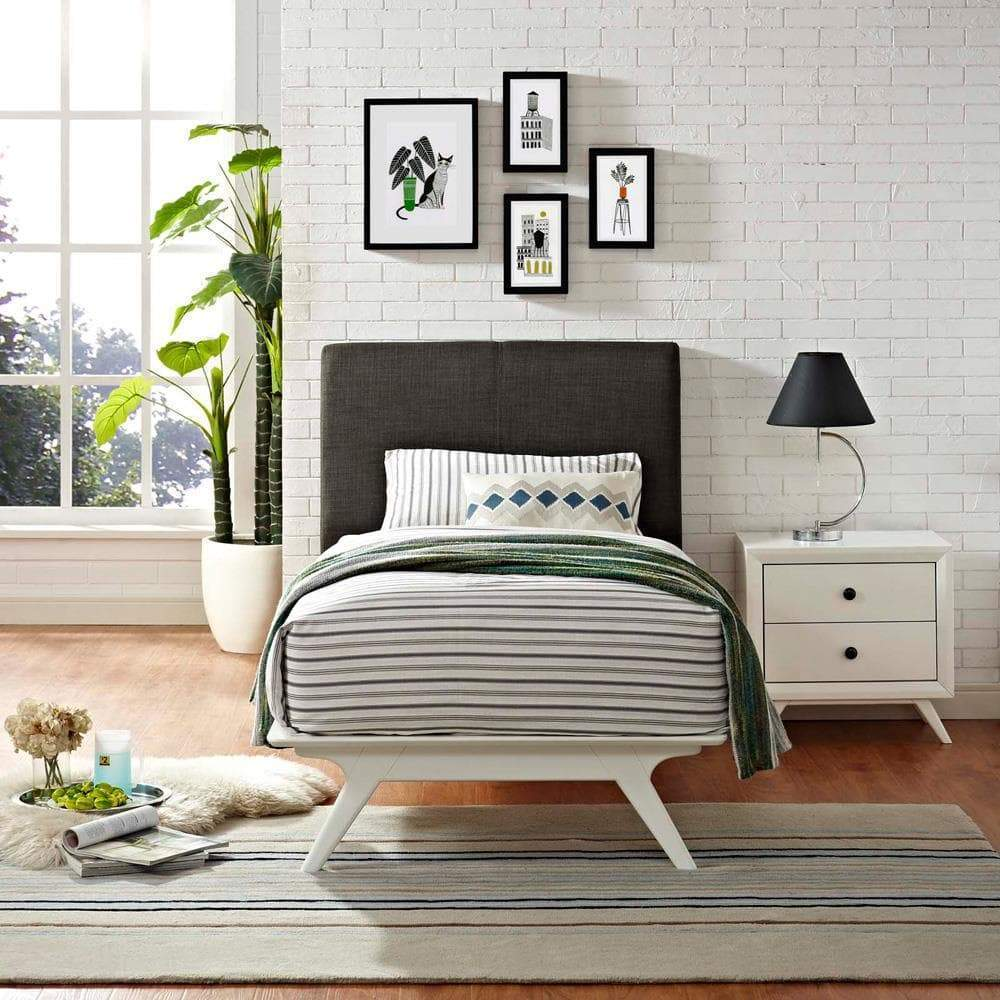 Modway Tracy Twin Bed - White Brown
