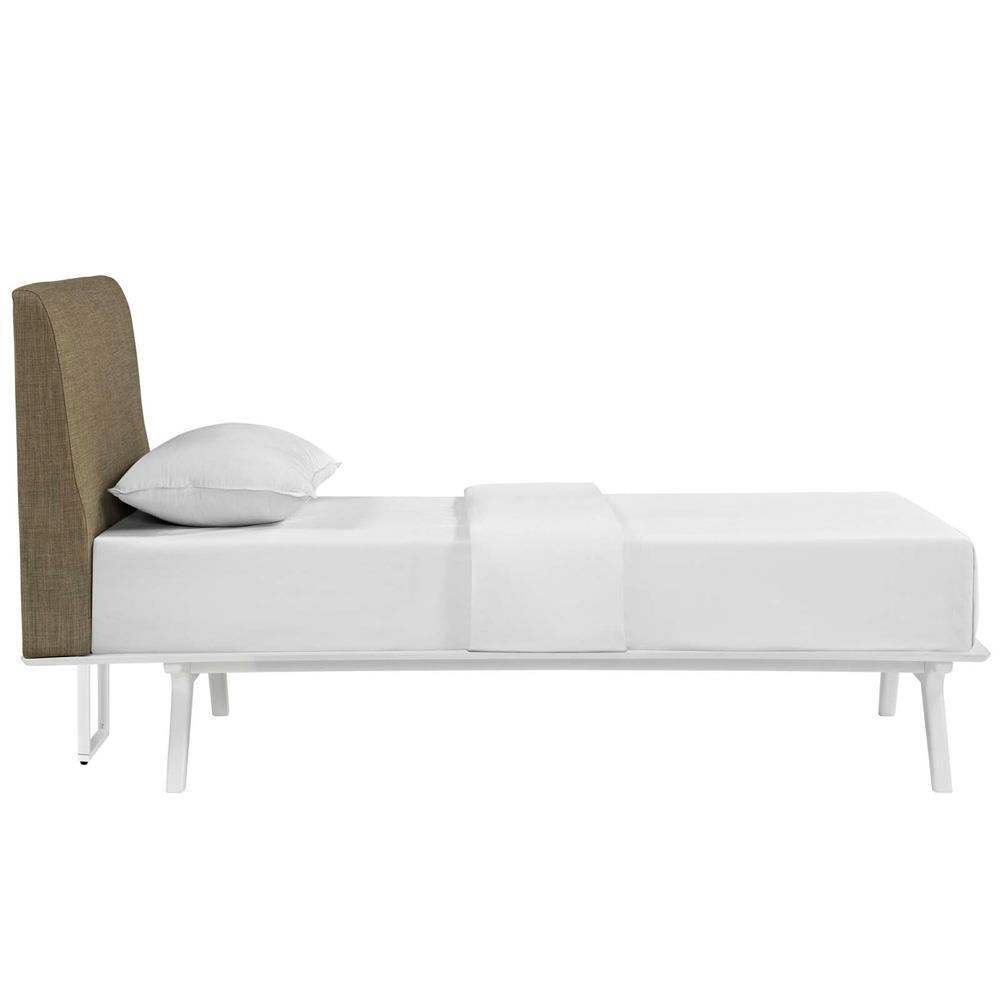 Modway Tracy Twin Bed - White Latte
