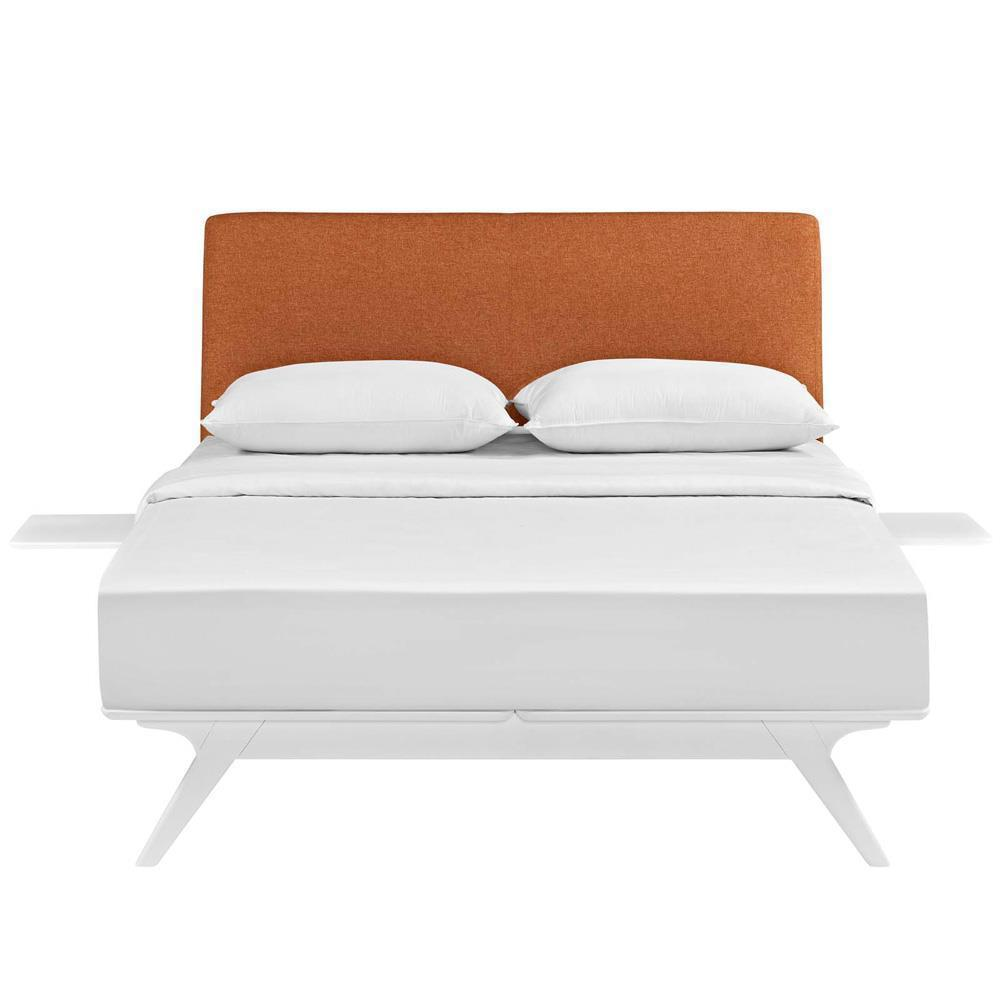 Modway Tracy 3 Piece Queen Bedroom Set - White Orange