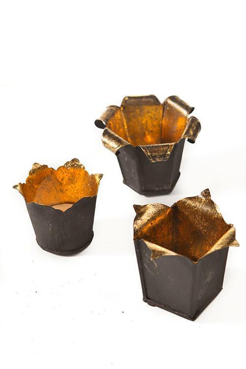 Vagabond Vintage 6 Dark Metal Votives With Gold Leaf Interior