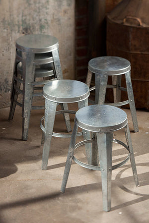 Galvanized Stool With Etched Numbers