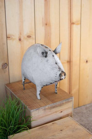Kalalou Recycled White Metal Pig