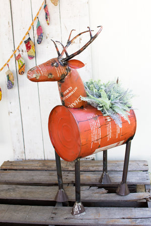 Kalalou Reclaimed Red Metal Deer Planter/ Wine Cooler