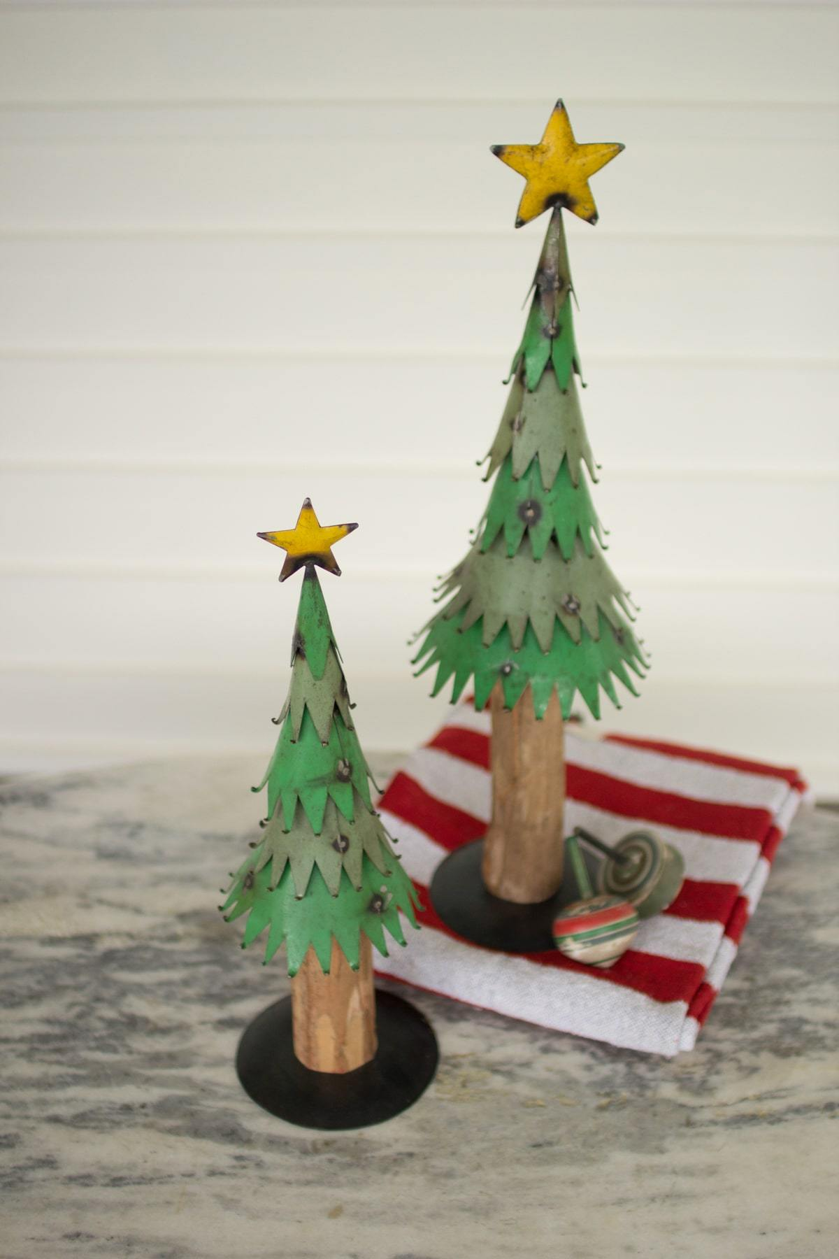 Kalalou Set Of 2 Large Painted Metal Christmas Trees With Wood Trunk