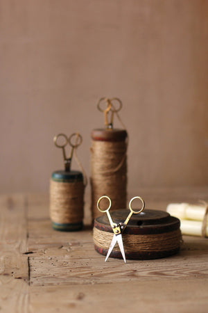 Kalalou Wooden Spools With Jute Twine And Scissors - Set Of 3