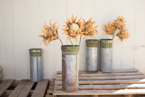 Kalalou Recycled Silver Metal Ammunition Canister Vase