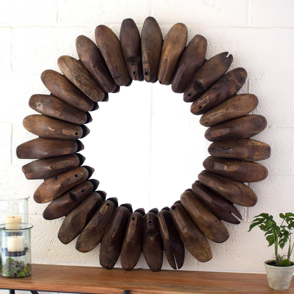 Kalalou Round Wooden Antique Shoe Mold Mirror