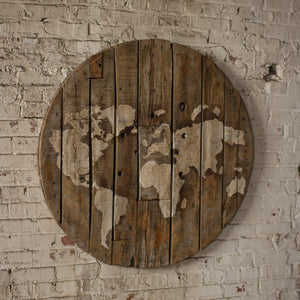 Kalalou Re purposed Wooden Spool World Map