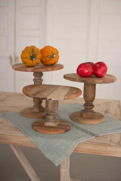 Kalalou Set of Three Recycled Wooden Display Stands