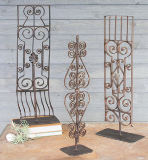Kalalou Set Of 3 Repurposed Iron Grilles With Stand - Assorted