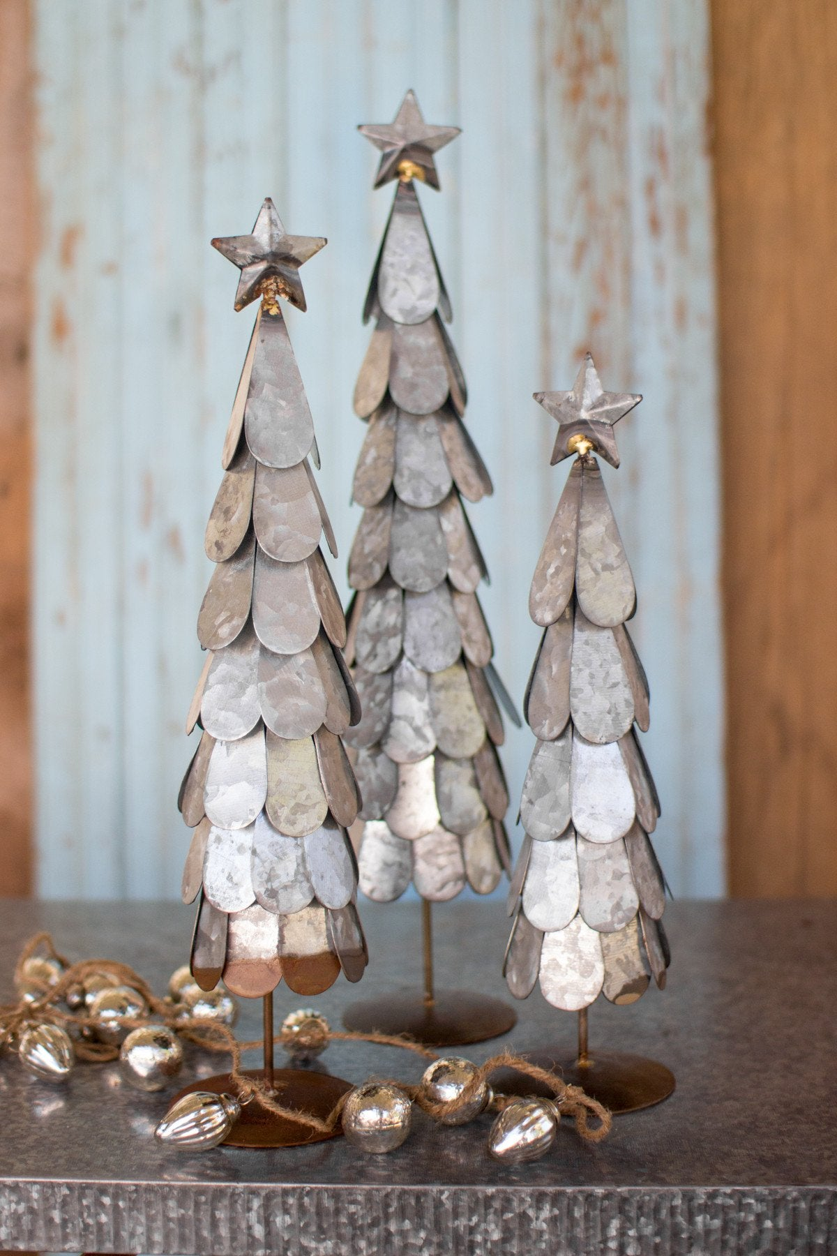 Kalalou Galvanized Trees With Star Finial - Set Of 3