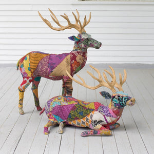 Kalalou Set Of 2 Stag With Recycled Patchwork Cloth