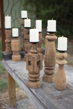 Kalalou Reclaimed Wooden Furniture Leg Candle Holder - Set Of 3