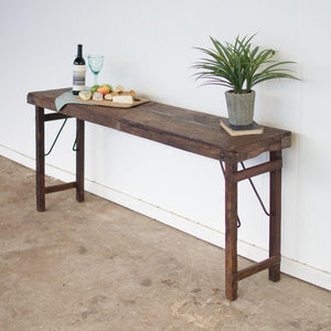 Kalalou Antique Wooden Folding Console Table