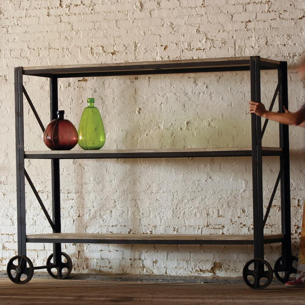 Kalalou Giant Iron And Wood Rolling Shelving Unit