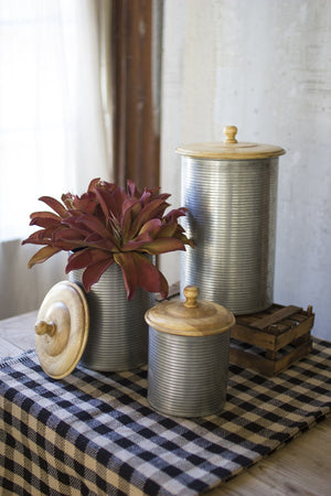 Kalalou Set Of 3 Galvanized Canisters With Wooden Tops