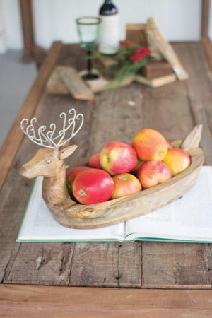 Kalalou Hand Carved Mango Wood Reindeer Bowl With Metal Antlers