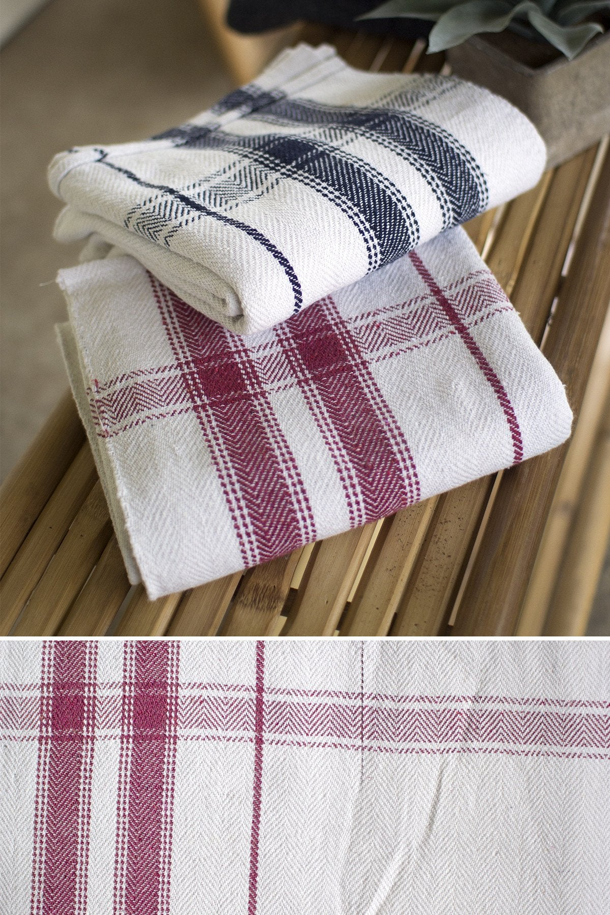 Kalalou Cotton Blanket -Table Cloth - Set Of 2