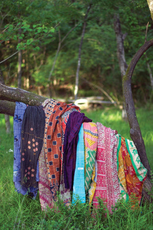 Kalalou Recycled Kantha Throws - Assorted Sizes And Patterns - Set of 6