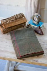 Kalalou Cotton Blend Utility Blanket Green With Red Stripe