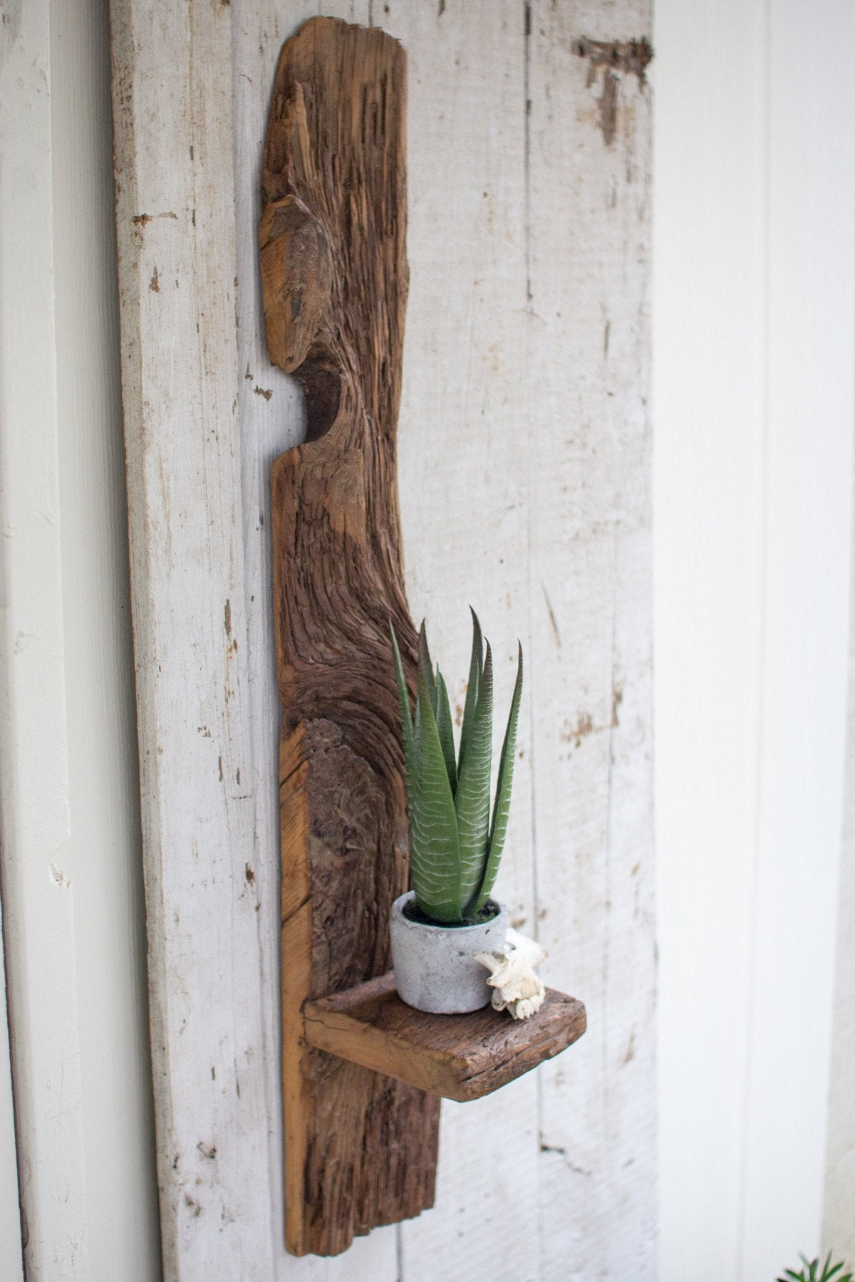 Kalalou Tall Recycled Wood Wall Shelf