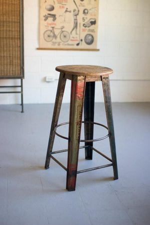 Kalalou Recycled Metal Bar Stool With Wooden Top