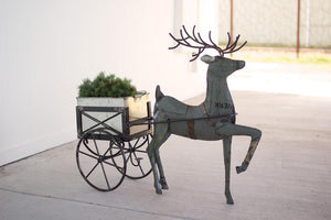 Kalalou Recycled Metal Deer With Drink Tub Cart