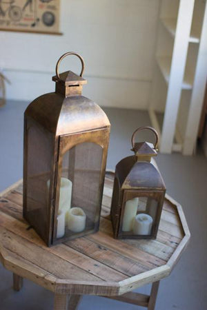 Kalalou Set of Two Antique Bronze Lanterns