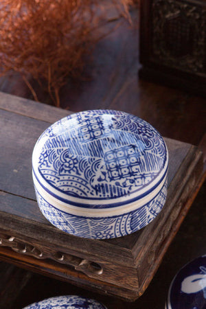 Blue and White Ceramic Box with Patchwork - Set of 6