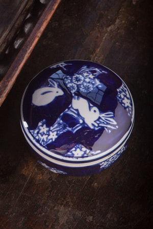 Blue and White Ceramic Box with Rabbit - Set of 6
