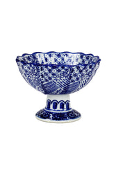Blue and White Pedestal Bowl - I - Set of 6