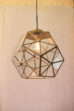 Kalalou Glass And Antique Gold Metal Faceted Pendants