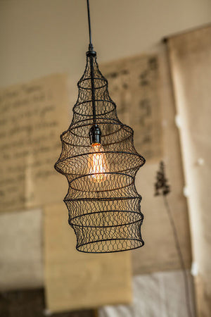 Fish Trap Shape Wire Pendant Lamp