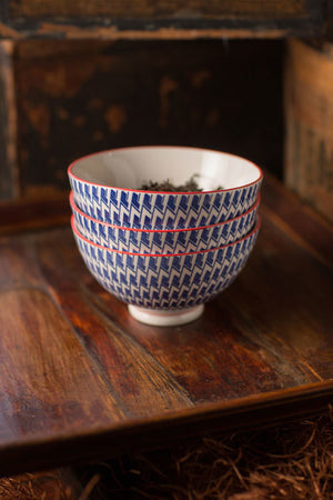 Geometric Pattern Ceramic Bowl with Red Trim - Set of 4