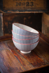 Scroll Design Ceramic Bowl with Red Trim - Set of 4