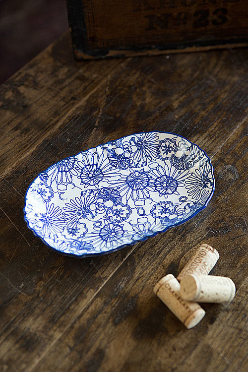 Blue and White Oval Plate - OC-OVLPLT-S4B - Set of 3