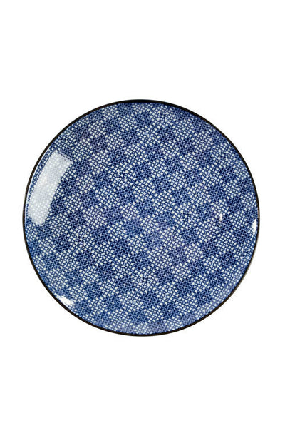 Blue and White Round Plate - OC-RDPLT-S4D - Set of 6