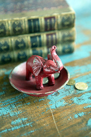 Pewter Elephant Ring Dish in Red